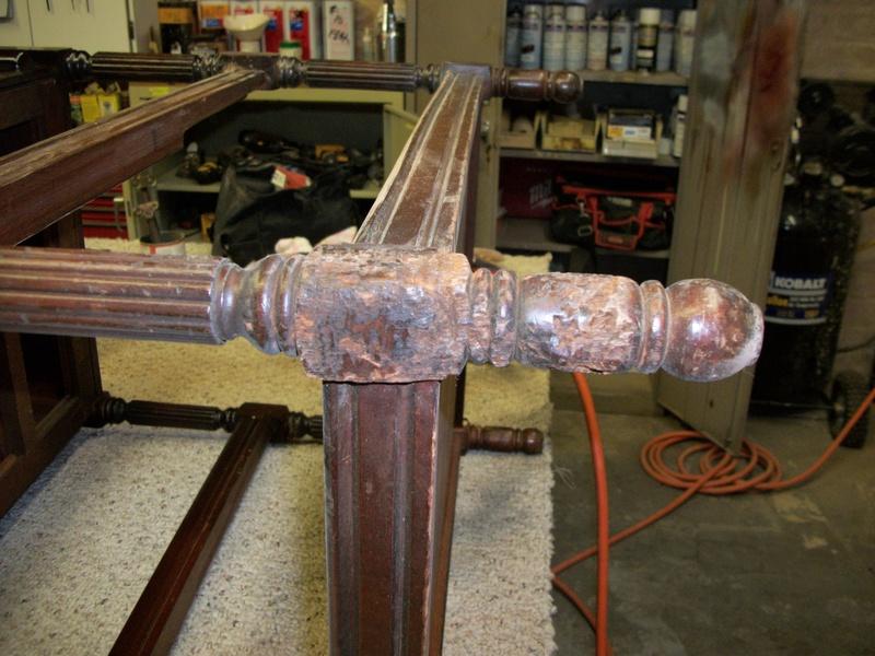 Table leg before restoring