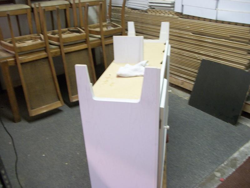 Cabinet after repairing broken legs